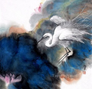Chinese Painting - Egret in clouds traditional China