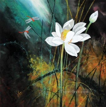 He Yunpu waterlilies pond and dragonfly traditional China Oil Paintings
