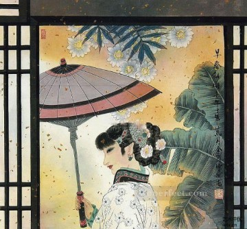 Chinese Painting - Hu Ningna Chinese lady in window