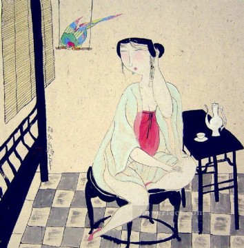 Chinese Painting - Hu yongkai Chinese lady 13