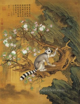 Traditional Chinese Art Painting - Lang shining animal and peach traditional China