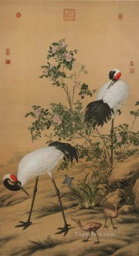 Lang shining cranes in flowers traditional China Oil Paintings