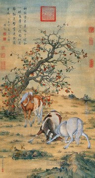 horse canvas - Lang shining great horses traditional China