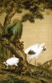 Lang shining two cranes under pine tree traditional China