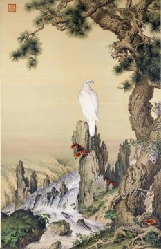 waterfall Painting - Lang shining white bird near waterfall traditional China