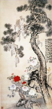 Lidan stone pine and flowers traditional China Oil Paintings