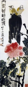 China Oil Painting - Qi Baishi birds on flower traditional China
