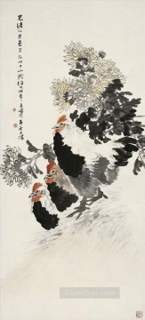 China Oil Painting - Ren bonian three roosters traditional China