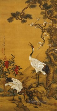 Chinese Painting - Shenquan cranes under pine and plum traditional China