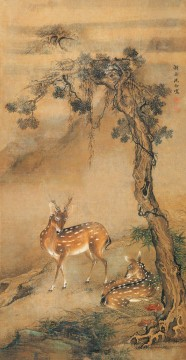 Traditional Chinese Art Painting - Shenquan deer under a tree traditional China