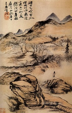 Traditional Chinese Art Painting - Shitao go by the cold paths 1690 traditional China