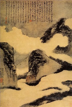 Chinese Painting - Shitao mountains in the mist 1702 old Chinese