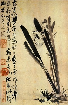 Shitao the daffodils 1694 old Chinese Oil Paintings