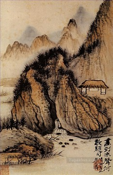 Chinese Painting - Shitao the source in the hollow of the rock 1707 old Chinese