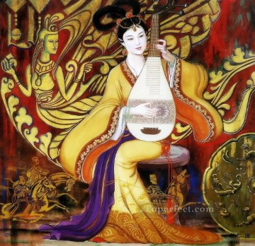 Chinese Painting - Wang Cunde Chinese girl playing lute