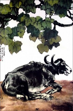 Traditional Chinese Art Painting - Xu Beihong a cattle old Chinese