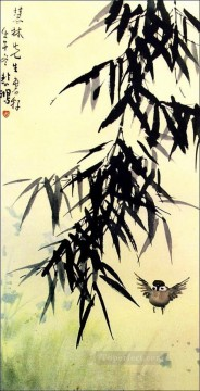 Xu Beihong bamboo and a bird old Chinese Oil Paintings