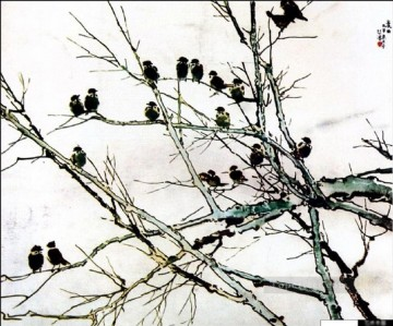 Chinese Painting - Xu Beihong birds on branch old Chinese