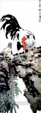 Xu Beihong cock and hen old Chinese Oil Paintings