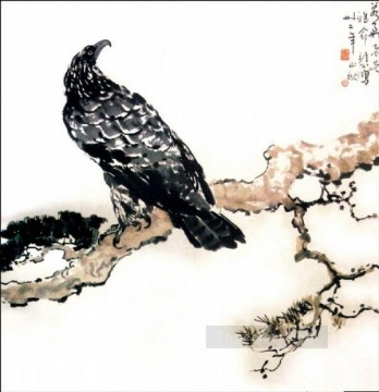 Branch Painting - Xu Beihong eagle on branch old Chinese