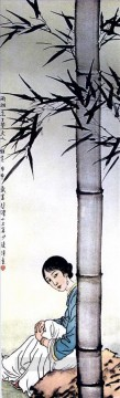 Chinese Painting - Xu Beihong girl under Chinese bamboo