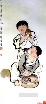 kids painting - Xu Beihong kids old Chinese