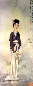 Chinese Painting - Xu Beihong lady old Chinese