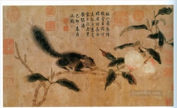 qian xuan squirrel on peach traditional China Oil Paintings