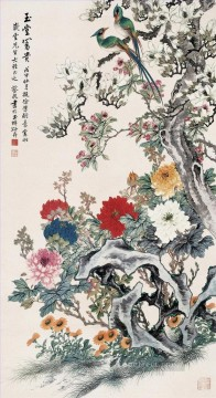Caixian affluence birds and flowers 1898 old Chinese Oil Paintings