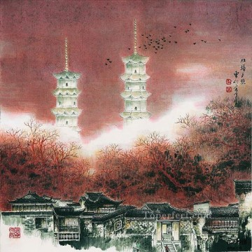Chinese Painting - Cao renrong Suzhou Park and Chinese towers