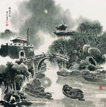 Chinese Painting - Cao renrong Suzhou Park and old Chinese