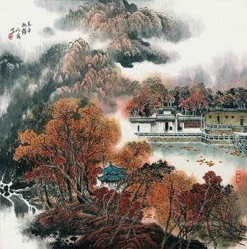 Cao renrong Suzhou Park in autumn old Chinese Oil Paintings