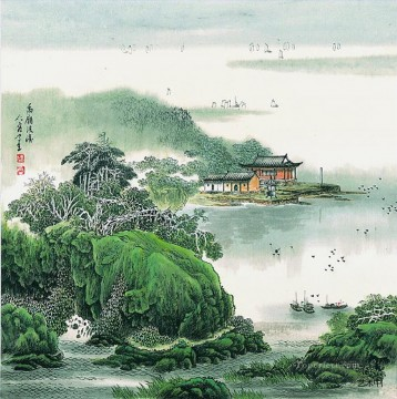 Cao renrong Suzhou Park old Chinese Oil Paintings