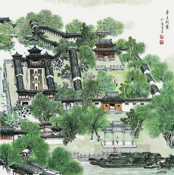 Cao renrong Suzhou Park walls old Chinese Oil Paintings