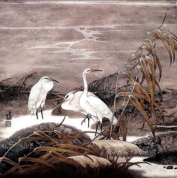 Egret in autumn old Chinese Oil Paintings