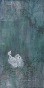 Egret in rain old Chinese Oil Paintings
