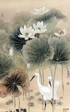Chinese Painting - Egret in waterlily pond old Chinese