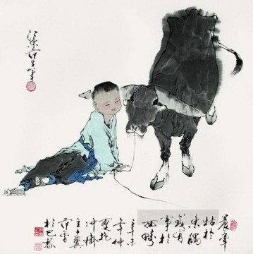 Fangzeng boy and cow old Chinese Oil Paintings