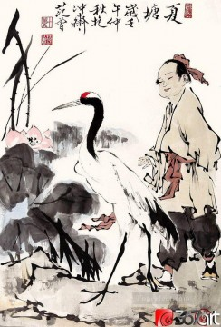 Fangzeng boy and crane old Chinese Oil Paintings