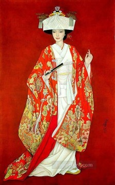 Chinese Painting - Feng cj Chinese girl in red