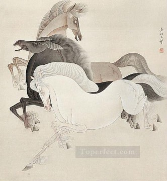 Chinese Painting - Feng cj Chinese horses
