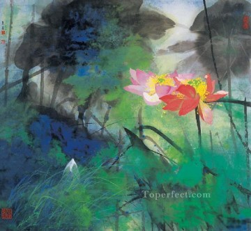 He Yunpu waterlilies pond 2 old Chinese Oil Paintings