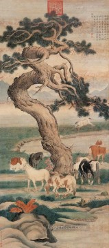 horses Art - Lang shining eight horses under tree old Chinese