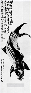 Chinese Painting - Qi Baishi carp old Chinese
