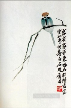 Qi Baishi sparrow on a branch old Chinese Oil Paintings