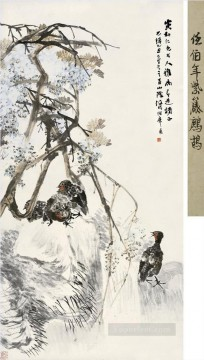 Traditional Chinese Art Painting - Ren bonian partridge and wistaria old Chinese