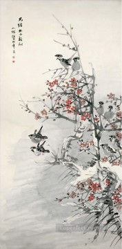 Ren bonian plum blossom and sparrows old Chinese Oil Paintings