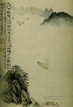 Shitao boats to the door 1707 old Chinese Oil Paintings