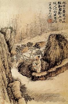 Shitao crouched at the edge of the water 1690 old Chinese Oil Paintings