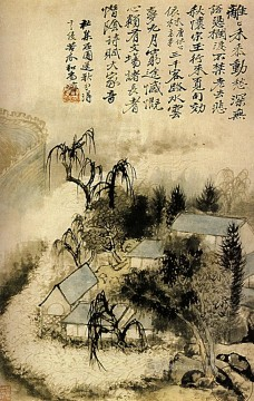 Chinese Painting - Shitao hamlet in the autumn mist 1690 old Chinese